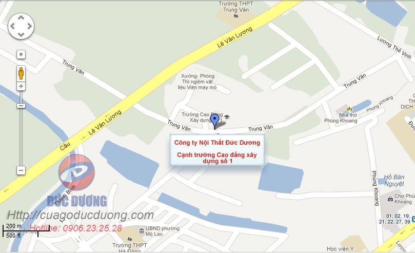 bản đồ đường đi tới công ty nội thất Đức Dương