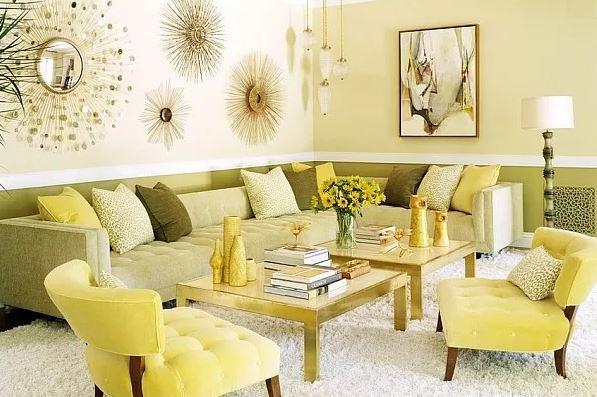 Phòng khách đẹp với gam màu vàng thập niên 70
